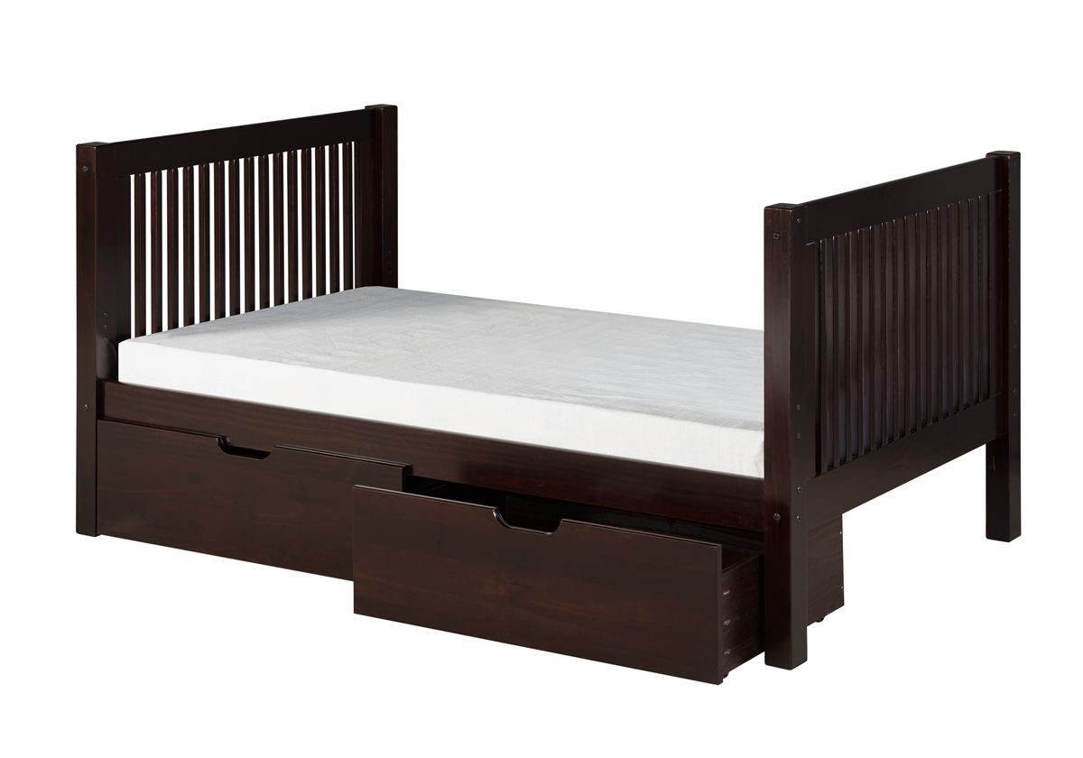 Camaflexi Camaflexi Full Size Platform Bed with Drawers - Mission Style - Cappuccino Finish