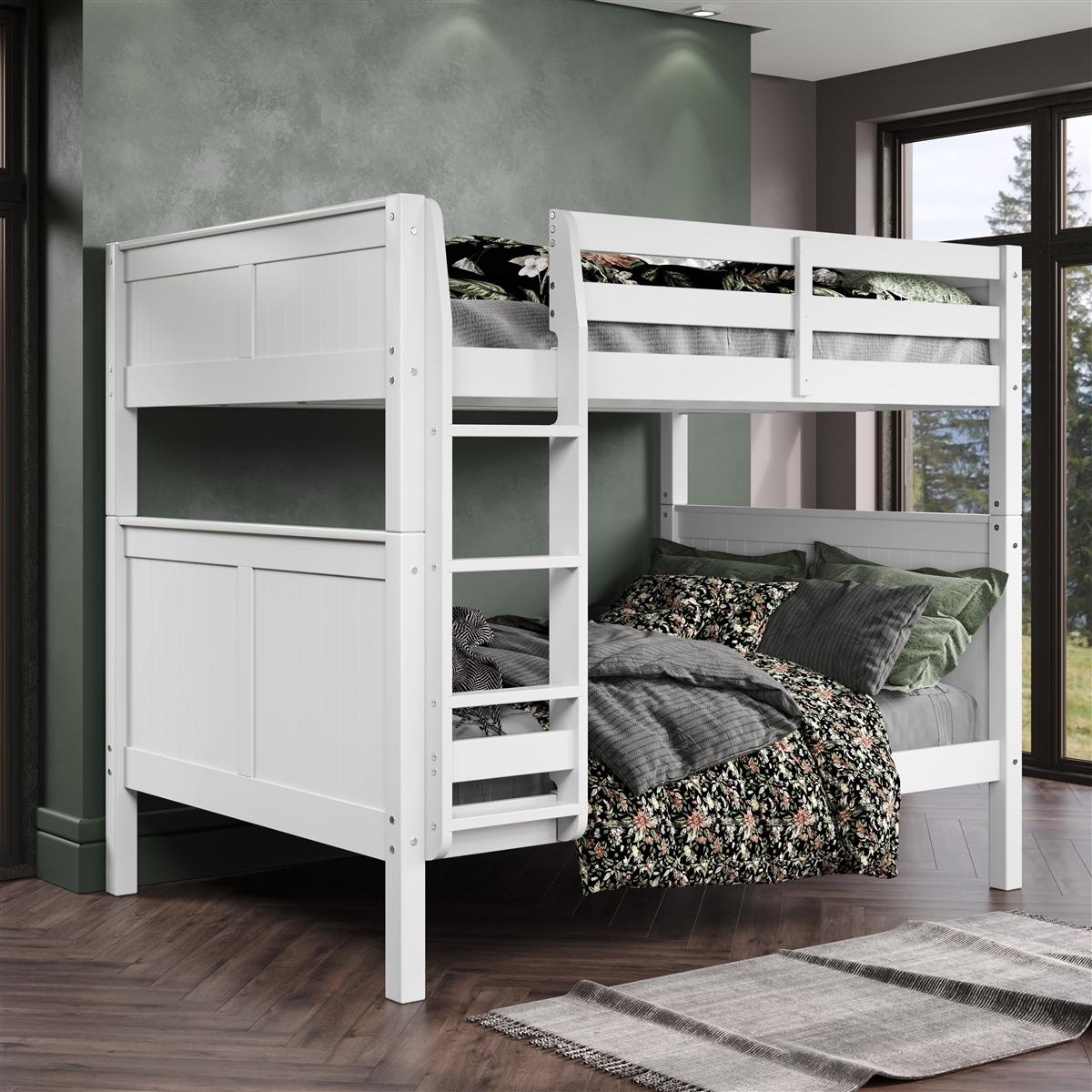 Camaflexi Full over Full Bunk Bed - Panel Headboard - White Finish
