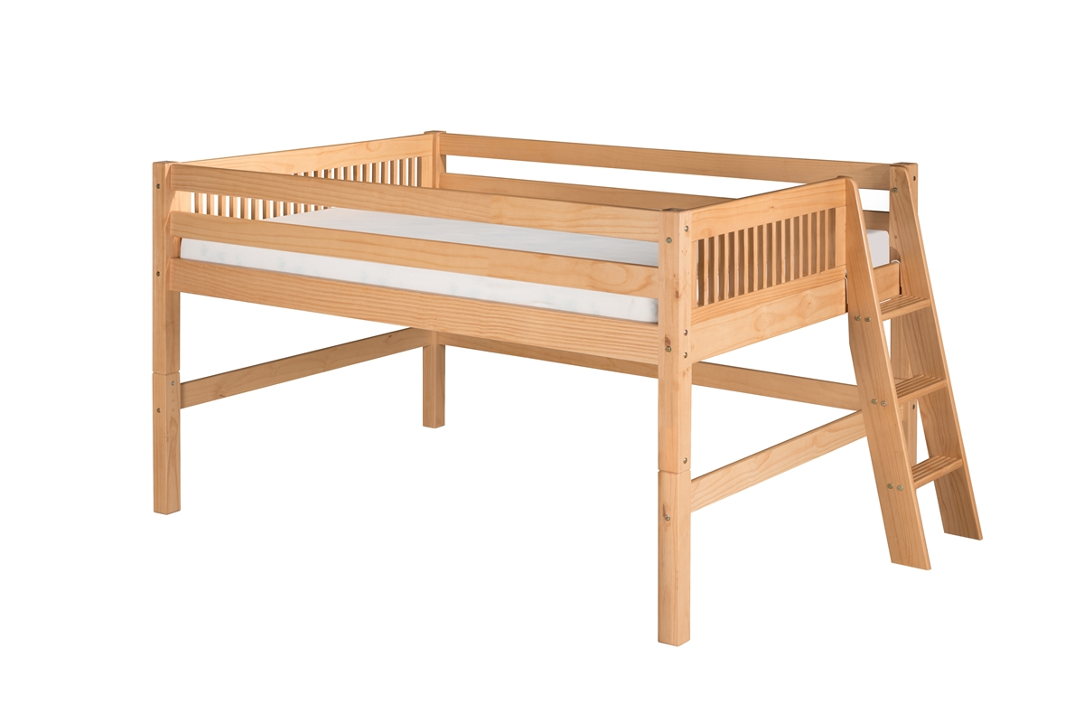 Camaflexi Full Low Loft Bed - Mission Headboard - Lateral Ladder - Natural Finish