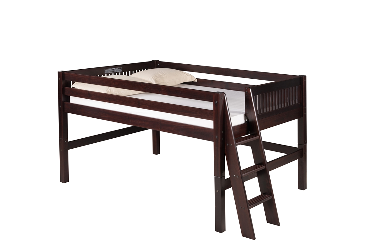 Camaflexi Full Low Loft Bed - Mission Headboard - Lateral Ladder - Cappuccino Finish