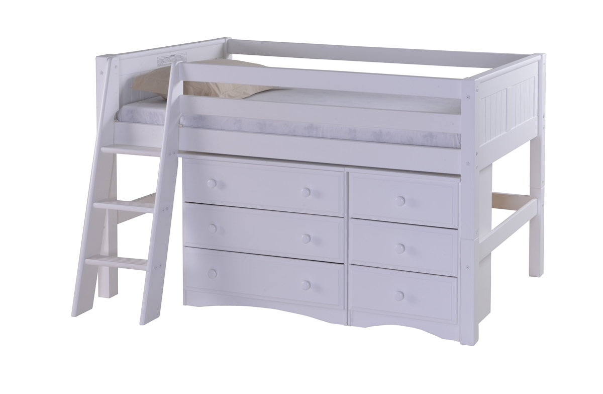 Camaflexi Low Loft Storage Bed - Panel Headboard - White Finish