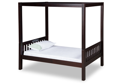 Expanditure Twin Canopy Bed Mission Style Cappuccino