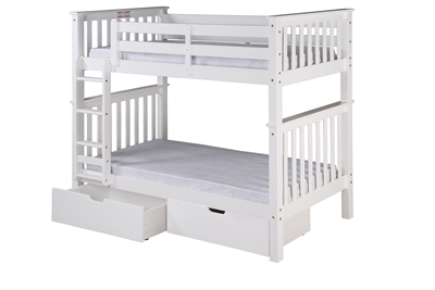 Mission Tall Bunk Bed Twin Over Twin Attached Ladder