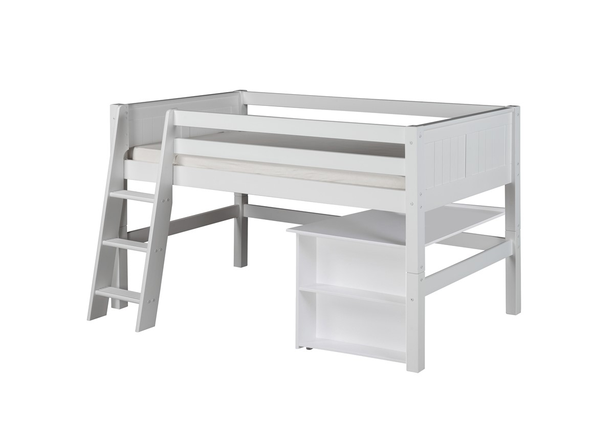 Camaflexi Low Loft Bed With Retractable Desk   Panel Headboard