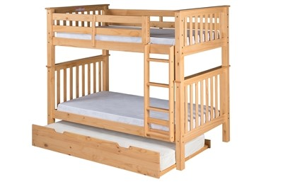 Santa Fe Mission Tall Bunk Bed Twin Over Twin   Attached Ladder