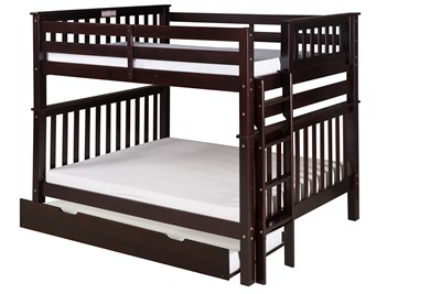 Santa Fe Mission Tall Bunk Bed Full Over Full   Bed End Ladder