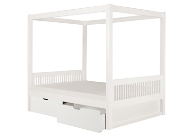 Canopy Bed With Drawers Mission Headboard White