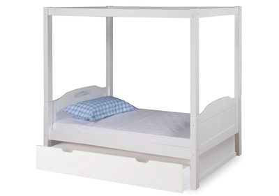 Expanditure Twin Canopy Bed With Trundle Panel Style White